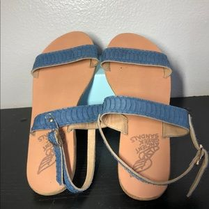 Womens ancient greek sandals blue size 37/6.5
